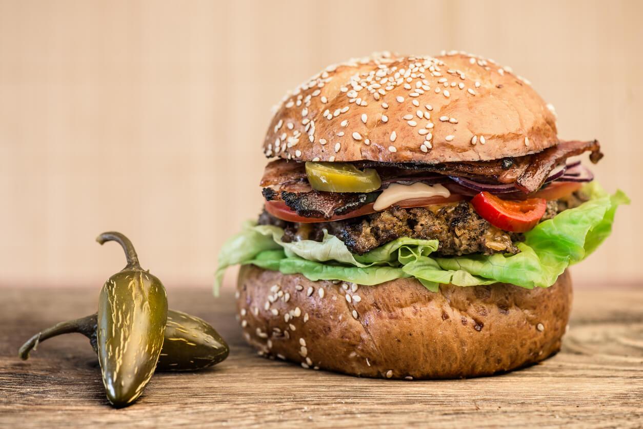 Hamburger and Jalapeno pepper