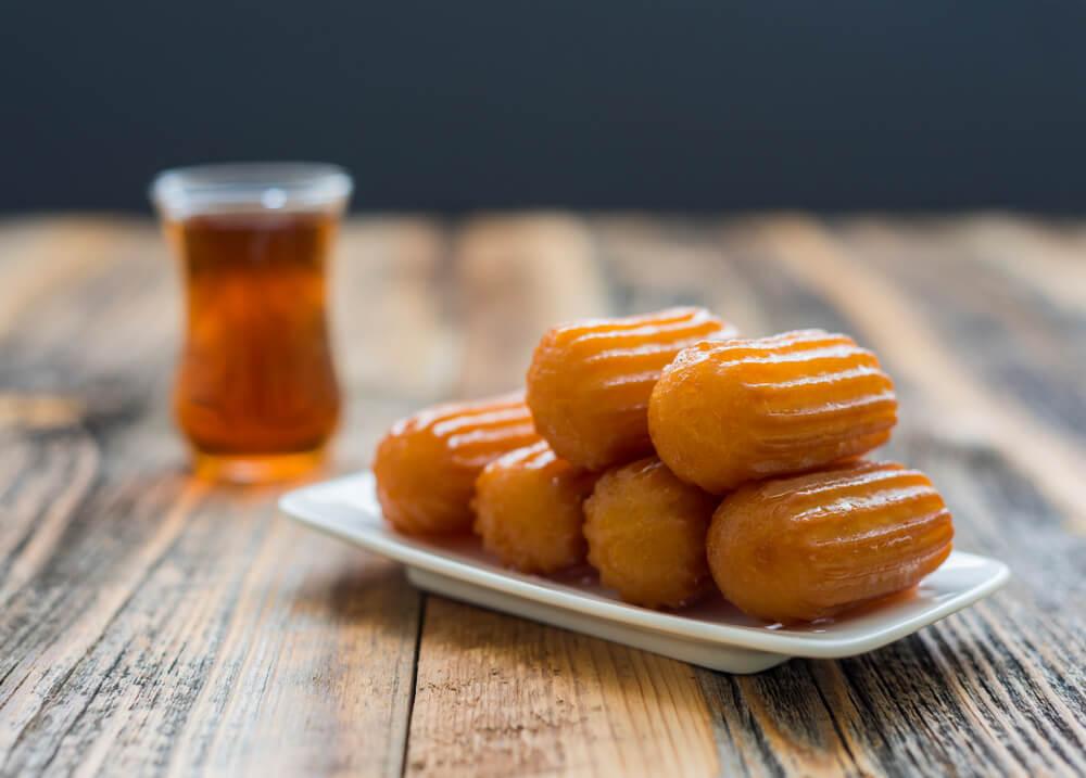 Traditional Turkish Dessert Tulumba With Turkish Tea.